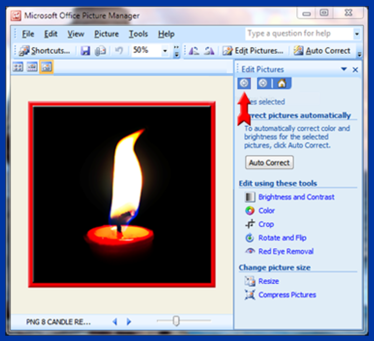 Screenshot 8. Back arrow for navigation in Microsoft Picture Manager.