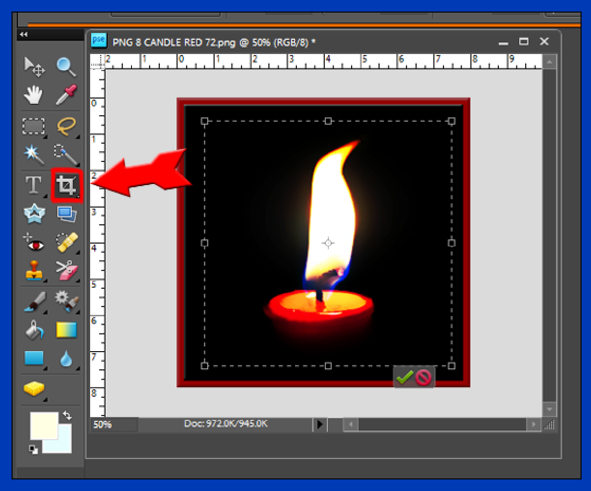 Screenshot 10. Cropping in Photoshop. Note the cropping tool icon in the panel of tools on the left side of the screen.