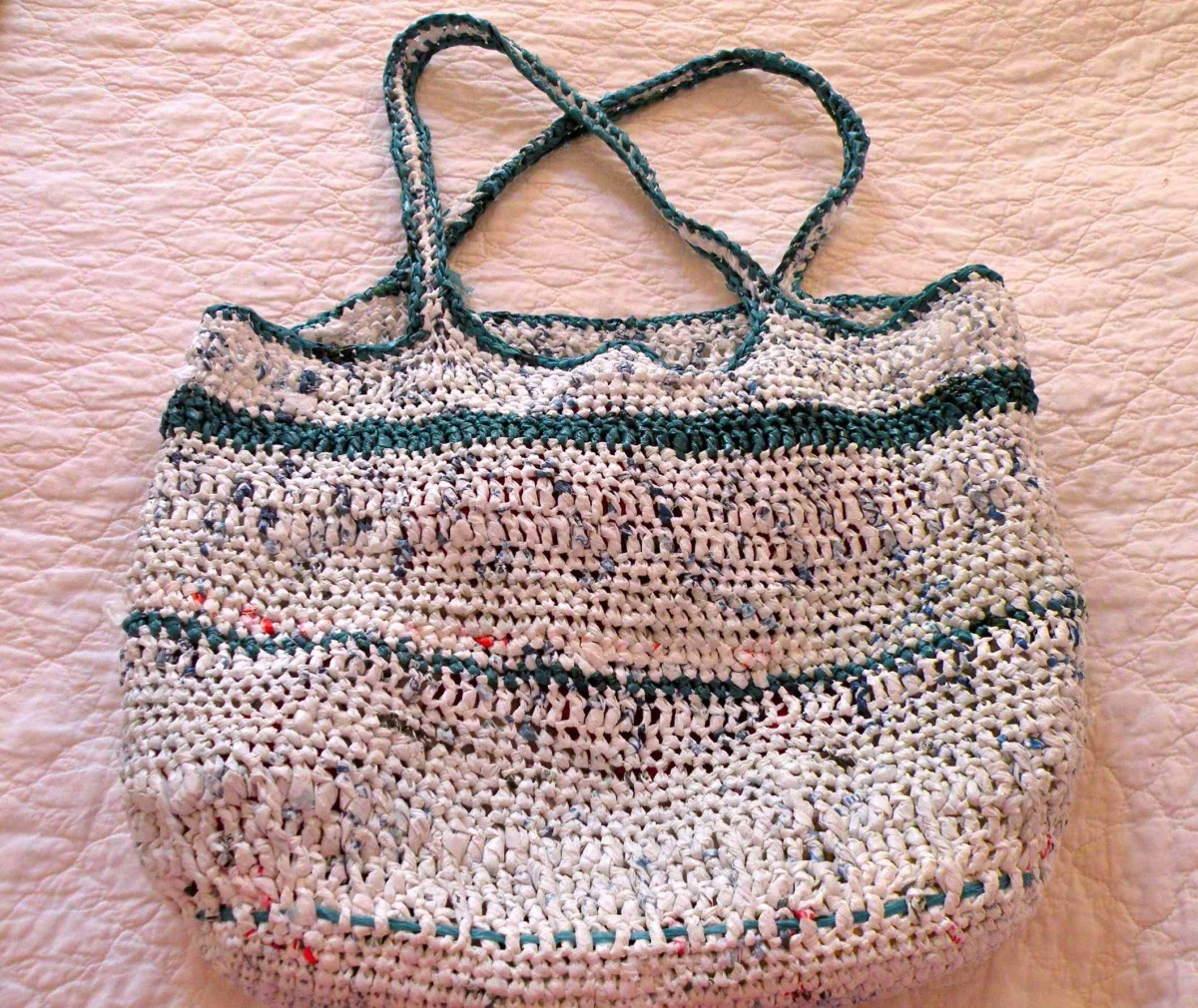 Beach bag from plastic grocery bags crocheted by Stephanie Henkel. This was my second project!