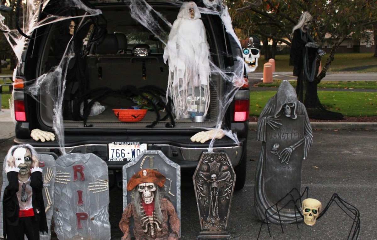 Another Trunk or Treat idea: set up a graveyard around and in your car.