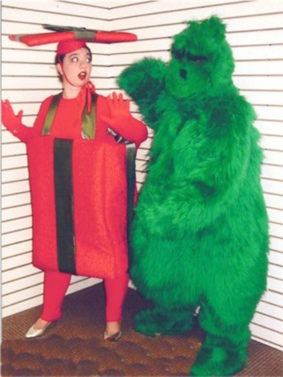 Pair a Christmas present costume with a Grinch!