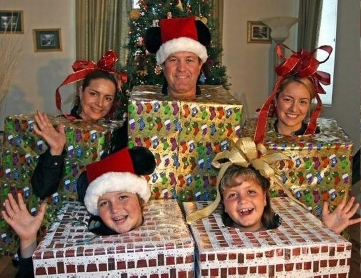 Christmas present costumes for the whole family.