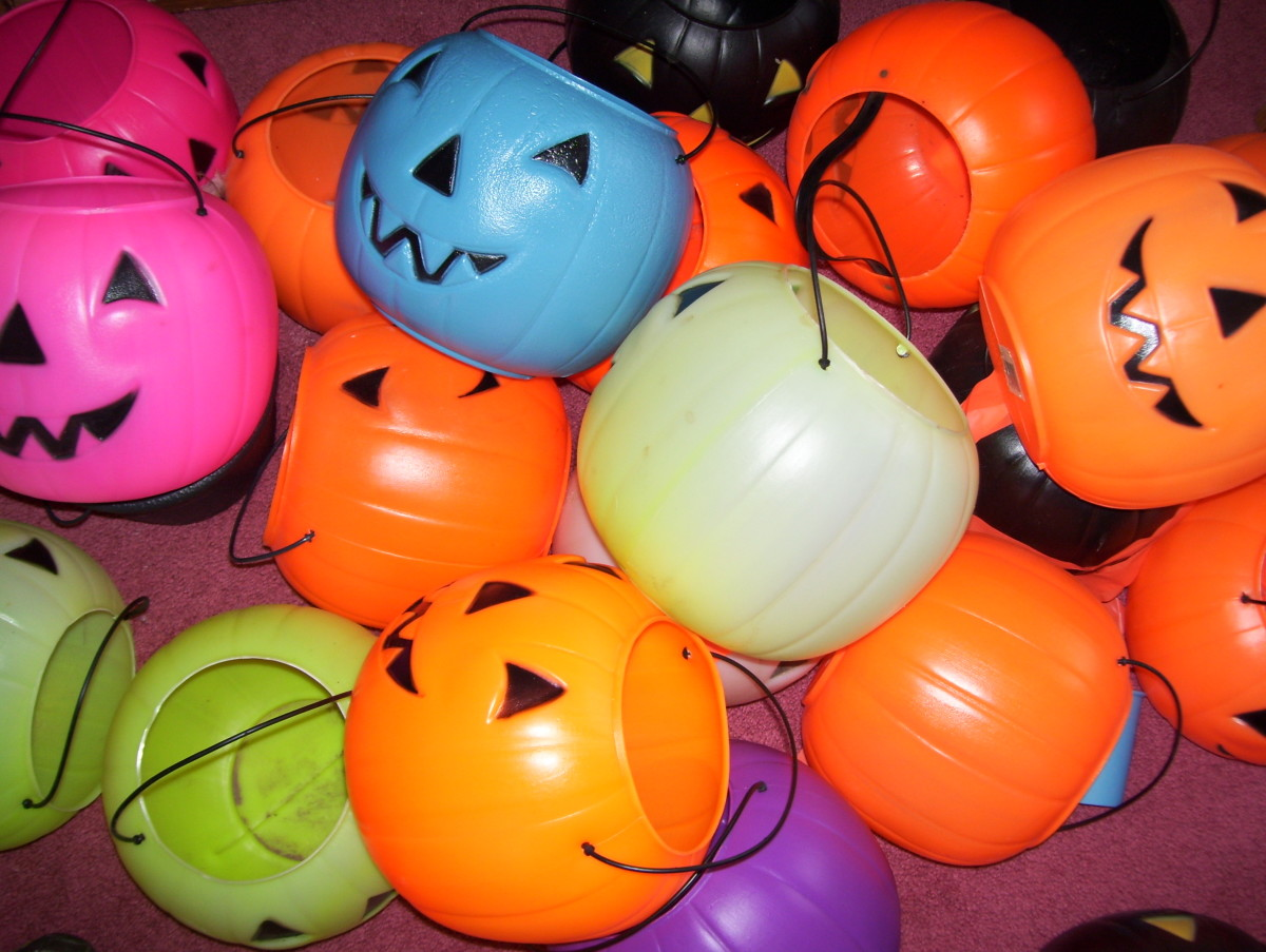 Trick-or-treat pumpkin buckets. Just a few from the collection.