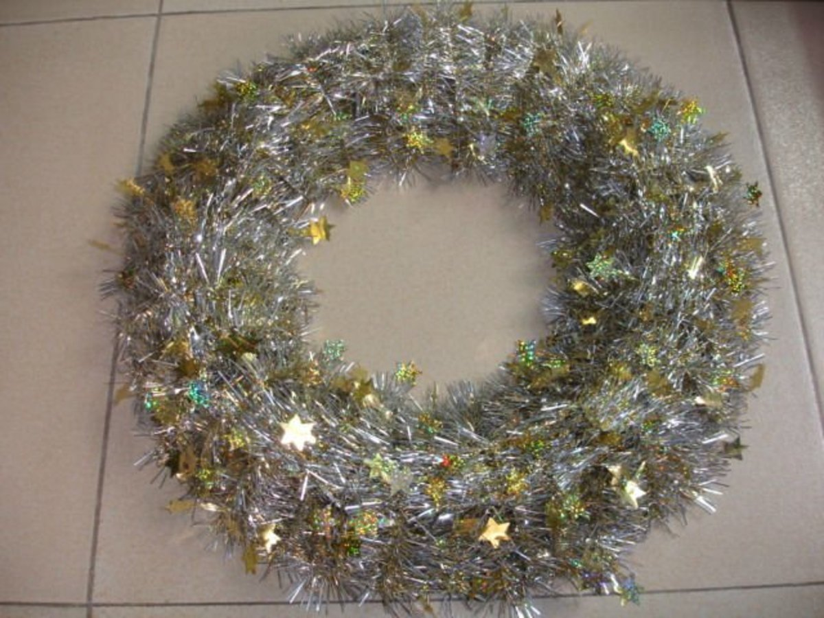 Consider turning your garland tinsel into a wreath.
