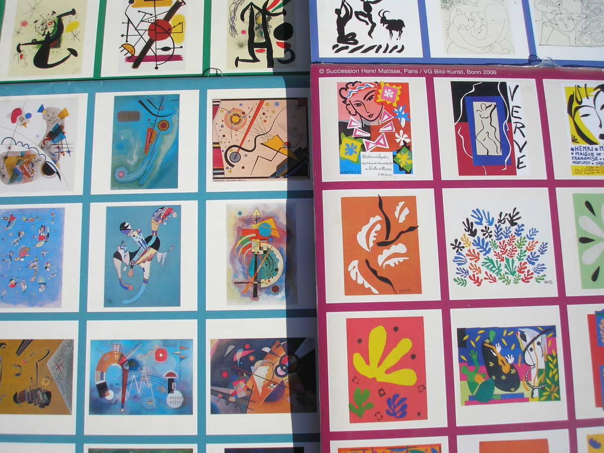 Calendars offer many framing opportunities. These are my Picasso, Miro, Matisse, and Kadinsky ready for framing.