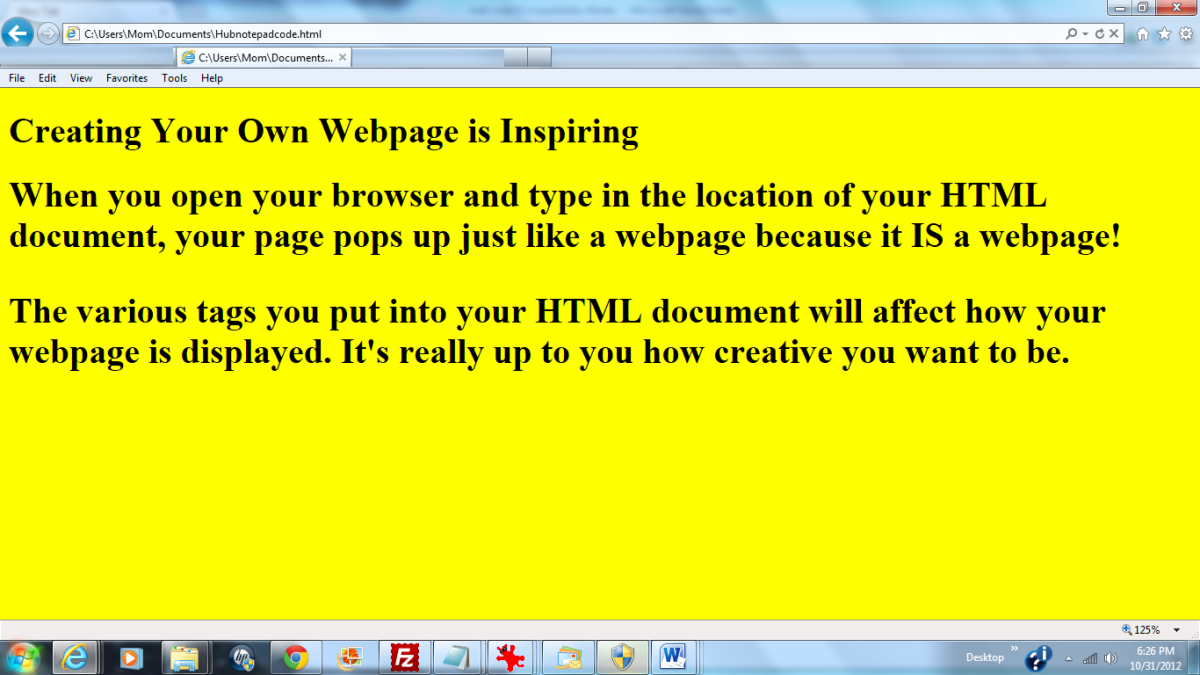 HTML Document With Notepad Stylesheet Linked