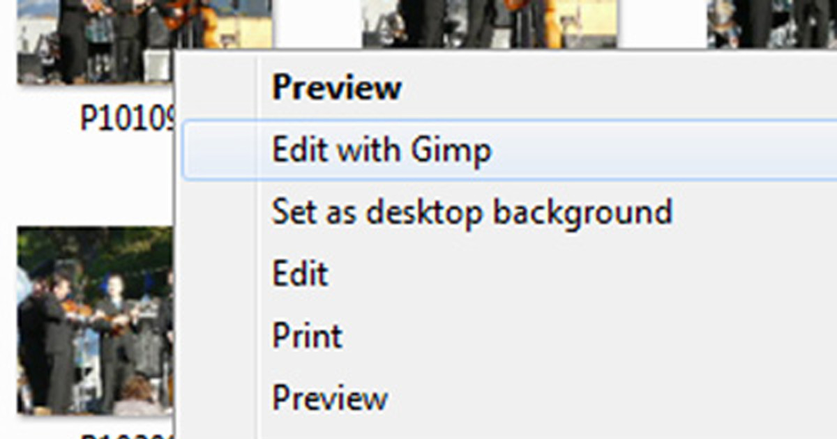 "Choose ""Edit with Gimp"" to open your photo."