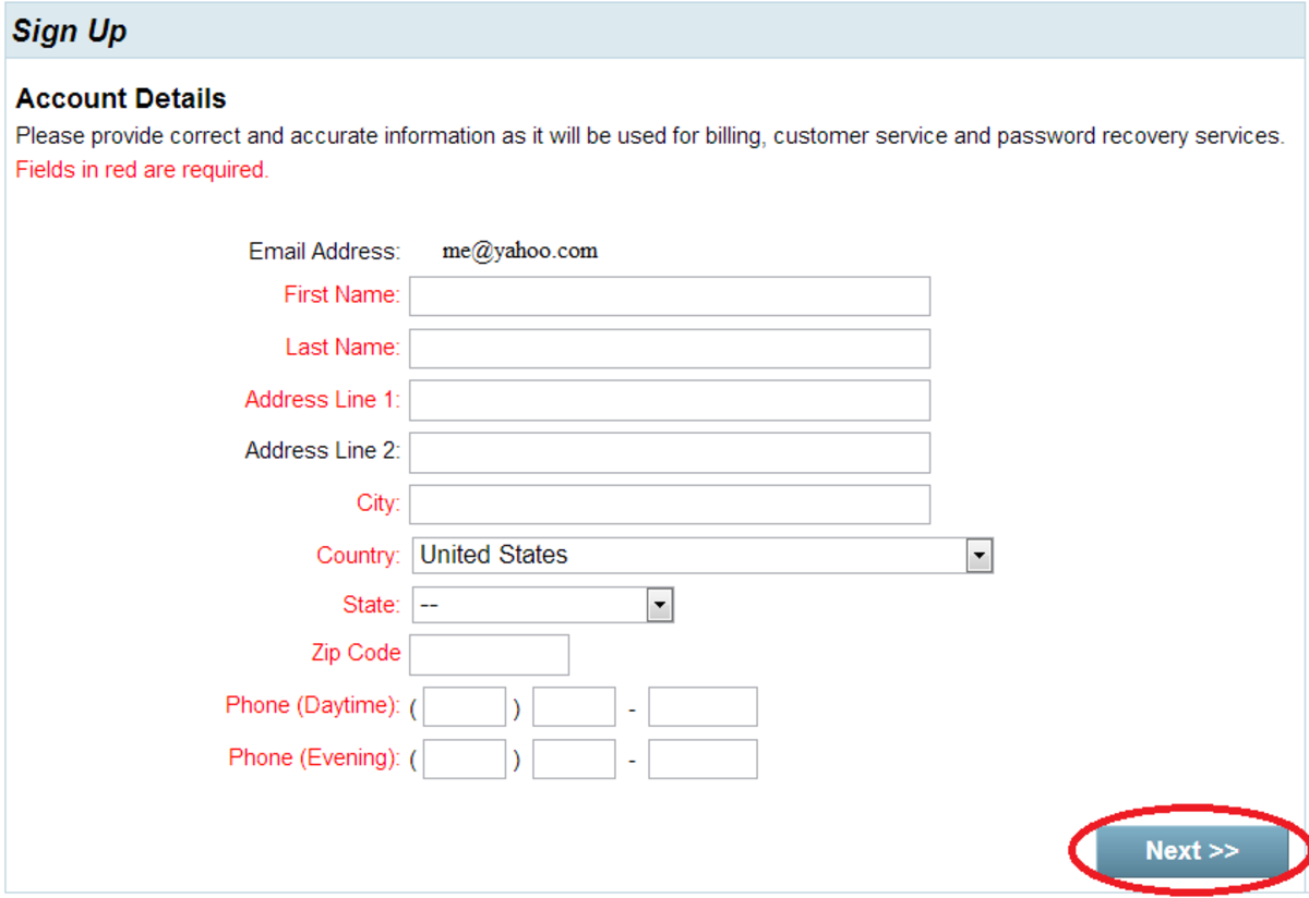 Step 8: Sign up / account details page