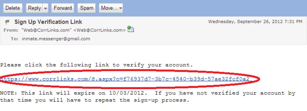 Step 7: Sign up verification link