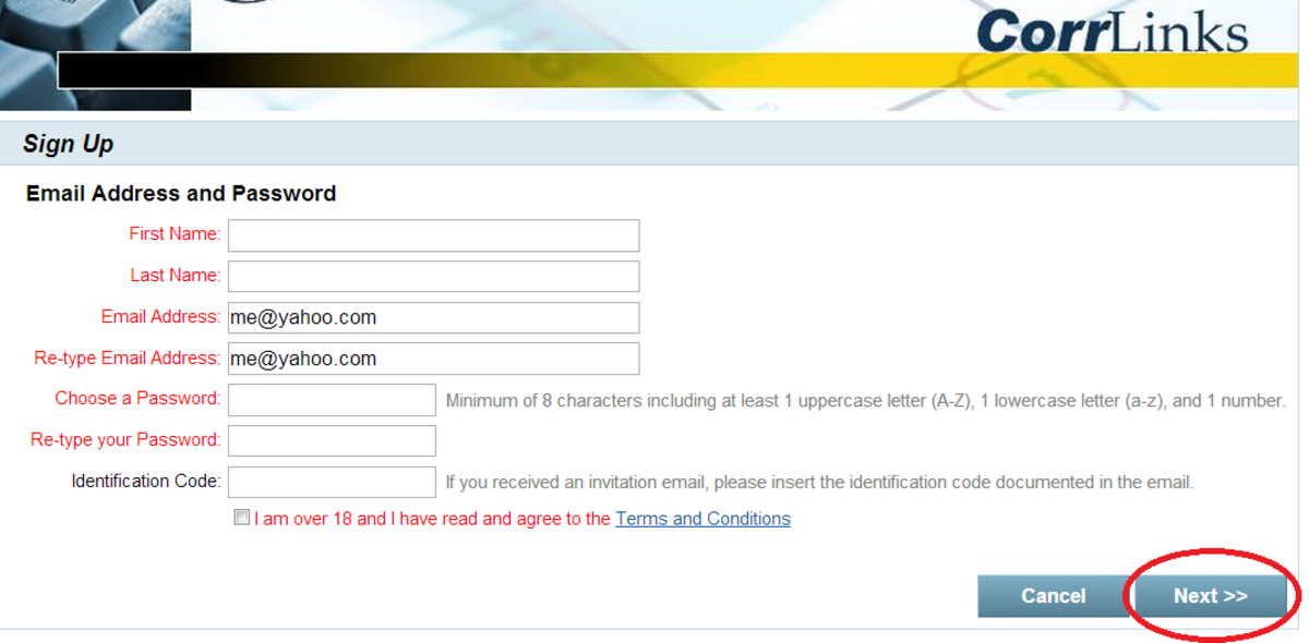 Step 4: Sign up / email address and password page