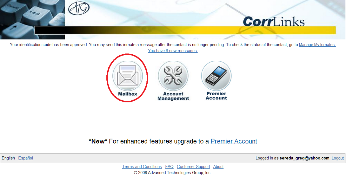 Step 9: CorrLinks account page