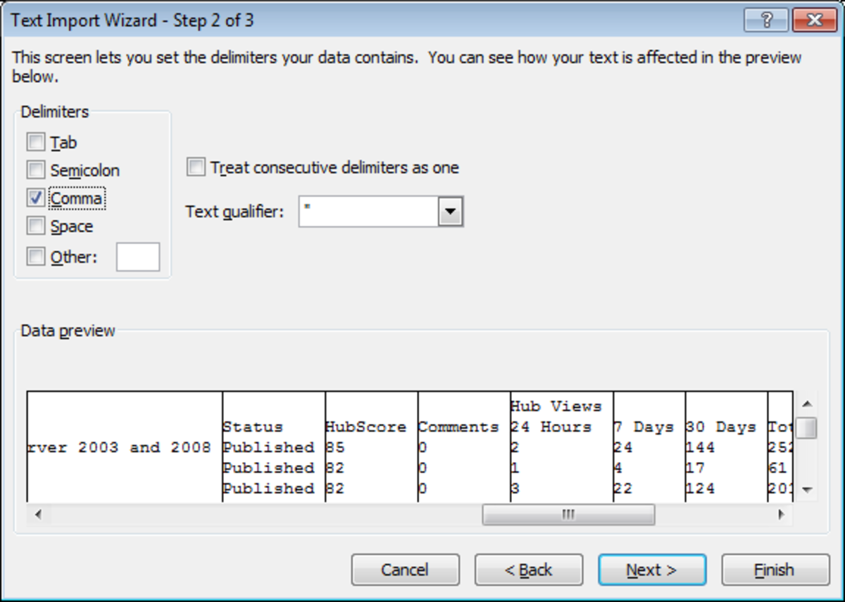 Text Import Wizard, Step 2 of 3 in Excel 2007.