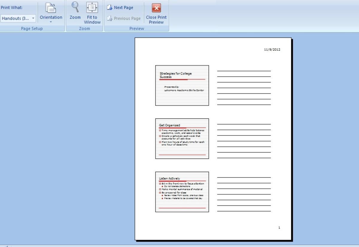 Handouts (3 Slides Per Page) option