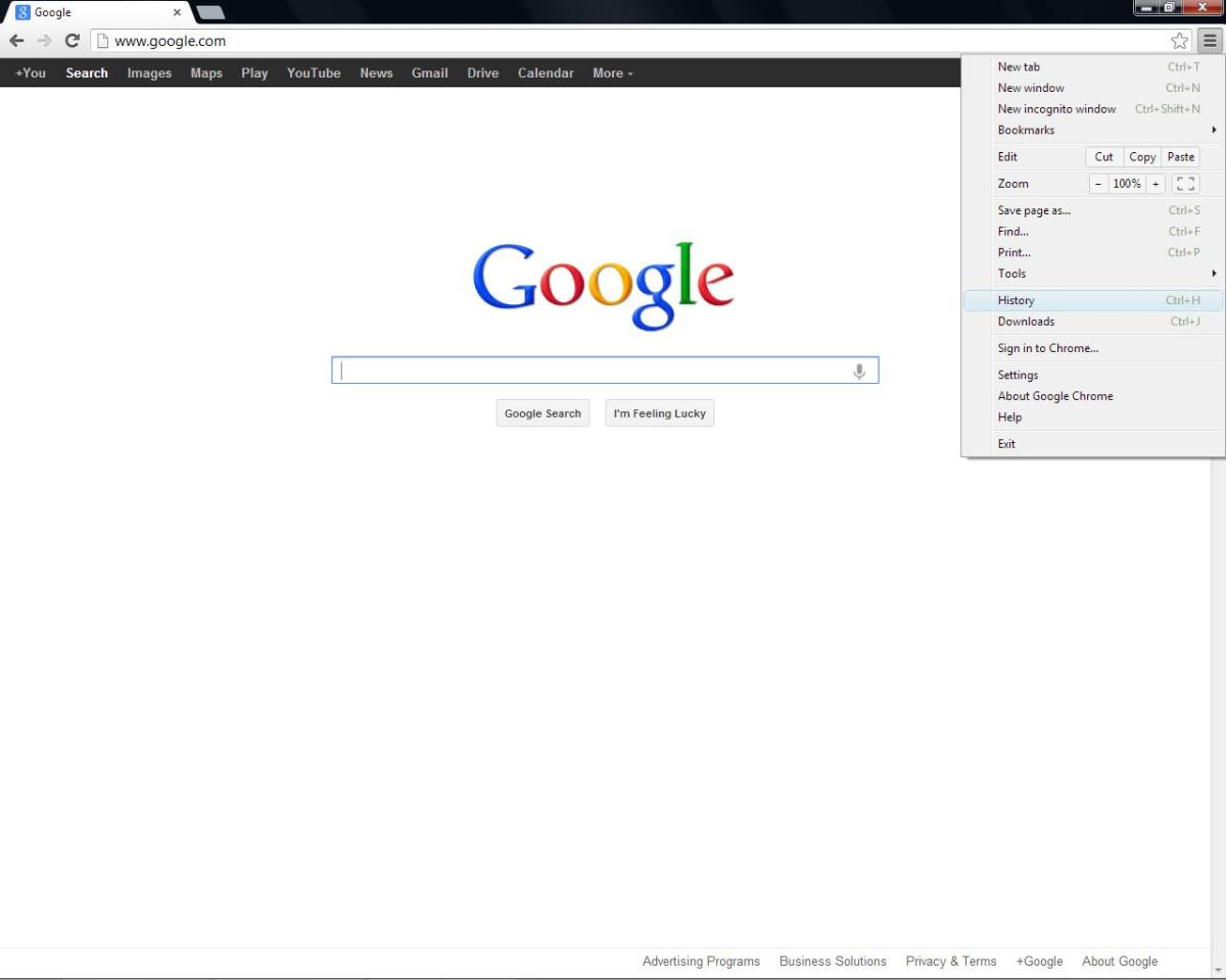 "The menu options in Google Chrome are simple and straightforward, with ""History"" easy to find."