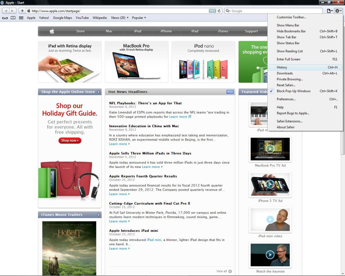The menu in Safari, like most, is located in the upper right-hand corner of the web browser.