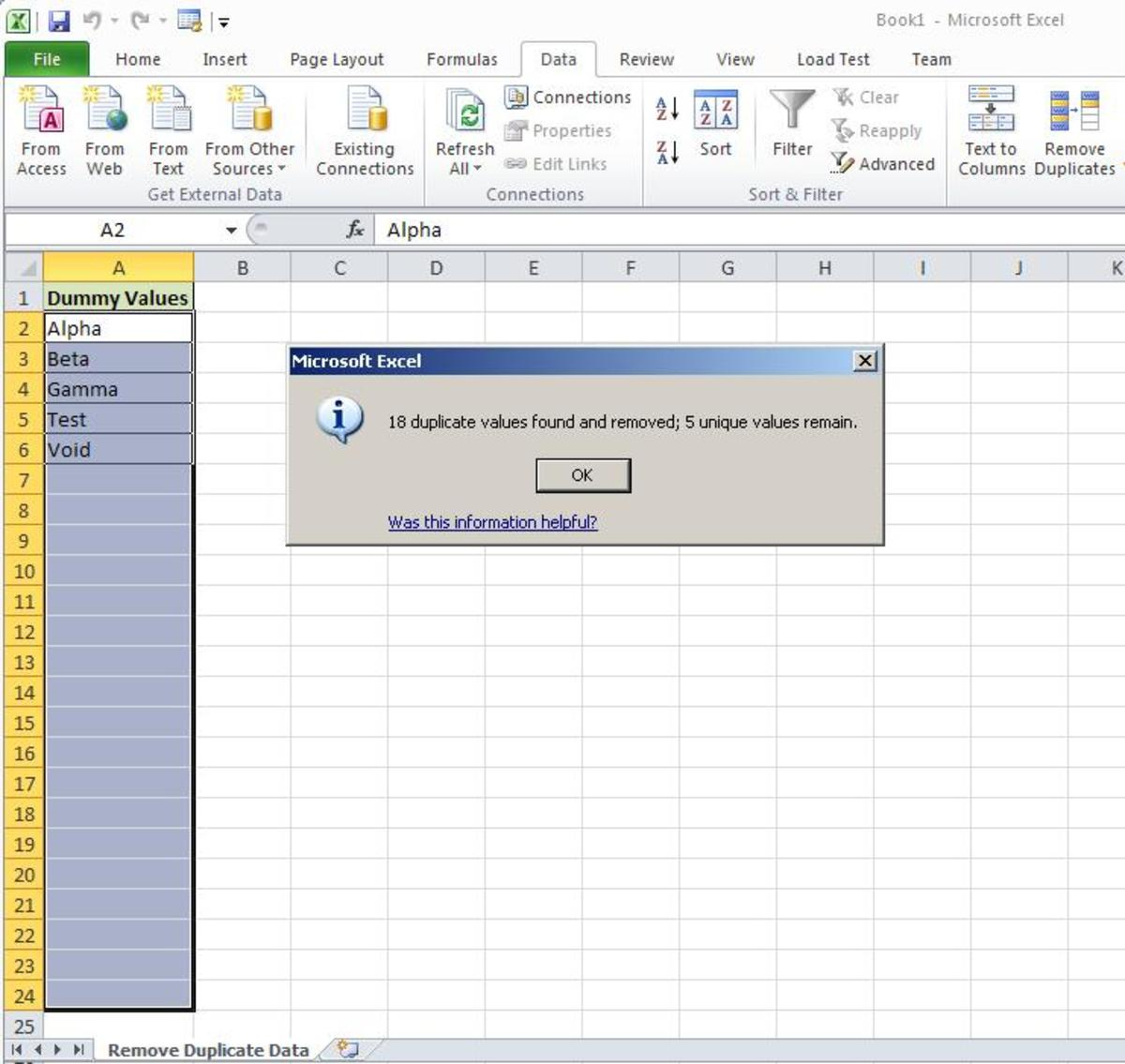 how to set a constant value in excel