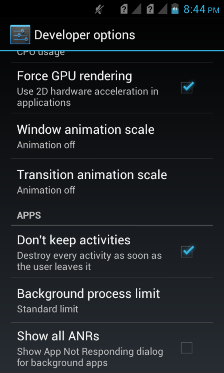 """Enable """"Don't keep activities"""" to keep the UI smooth"""