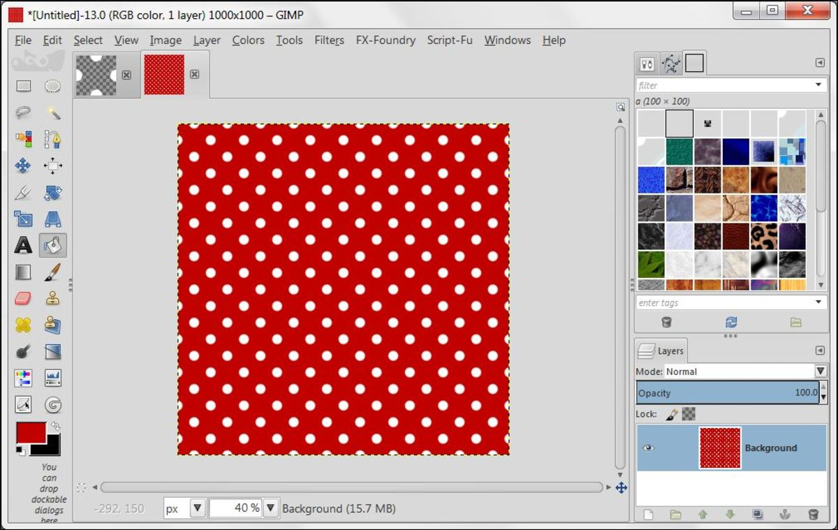 Fig. 4 Creating background with Polka Dot pattern in GIMP 2.8