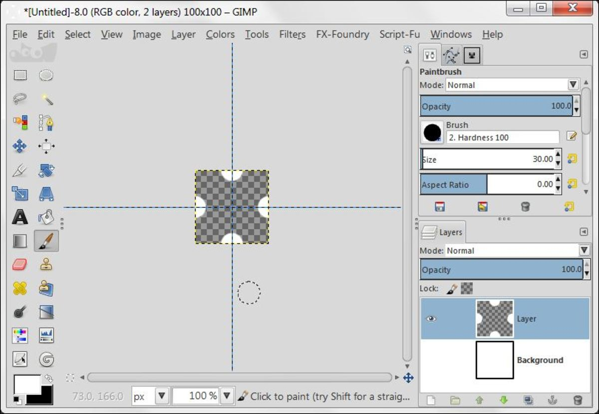 Fig. 2 Creating background with Polka Dot pattern in GIMP 2.8