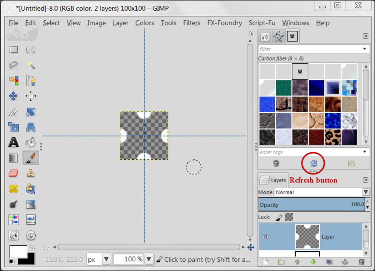 Fig. 3 Creating background with Polka Dot pattern in GIMP 2.8