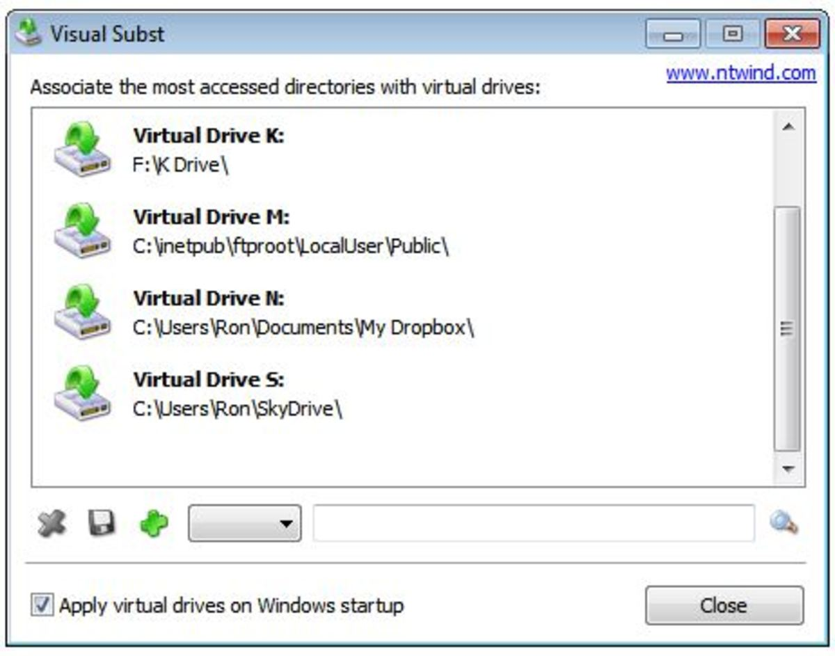 Visual Subst assigns our Dropbox folders to the N: drive