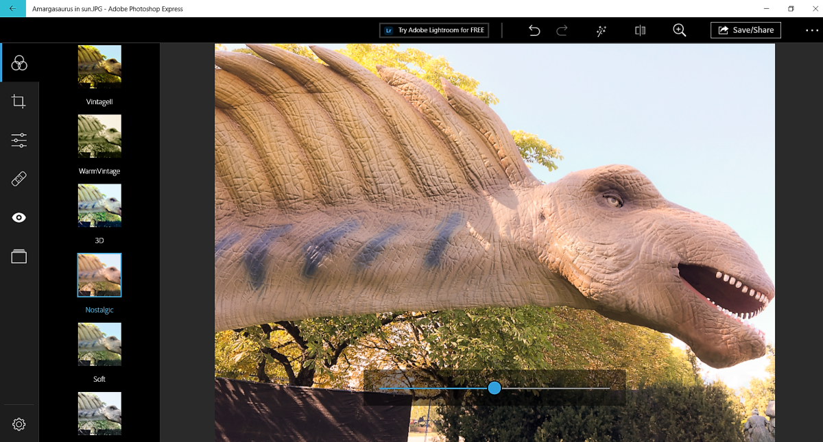 My Amargasaurus photo in the Adobe Photoshop Express app on my Windows system