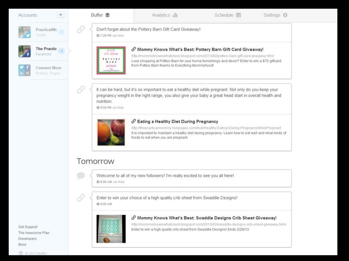 This is a screen shot of some of my posts scheduled to be shared by Buffer.
