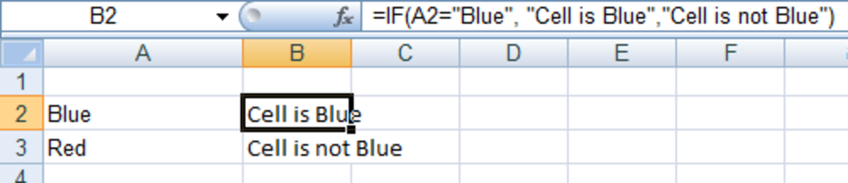 Example of a simple IF statement in Excel 2007 and Excel 2010.