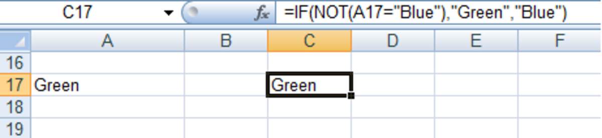 Using IF with NOT in a formula in Excel 2007 and Excel 2010.