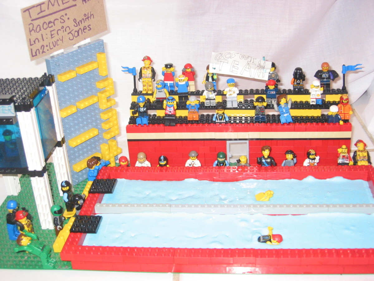 Swimming Pool Scene.  We used blue slime to make the water on this set.  You can use things other than Lego bricks to make your movies.