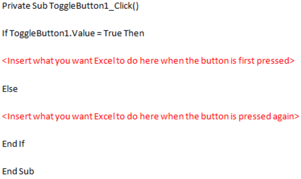 Visual Basic code that allows you to add selectable actions to your Toggle Button in Excel 2007 and Excel 2010.