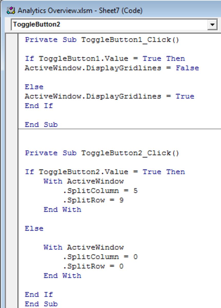 Complete code used to turn grid lines on / off and switch split screens on / off in two Toggle Buttons created in Excel 2007 and Excel 2010.