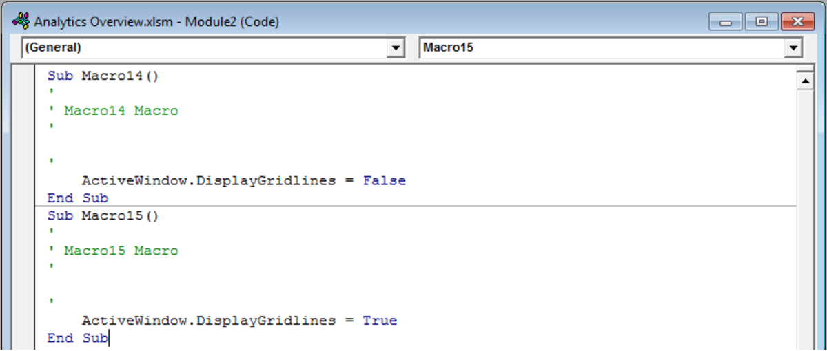 Module that contains the Visual Basic code for your Toggle Button in Excel 2007 and Excel 2010.