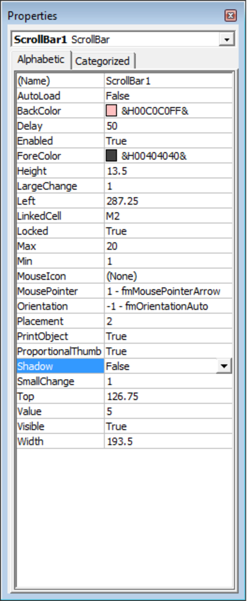 Configurable options available for ActiveX Controls Scroll Bars in Excel 2007 and Excel 2010.