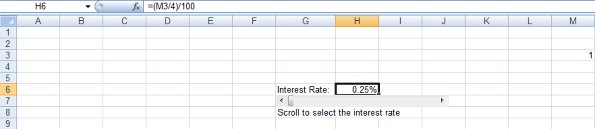 Formula used to convert the output from a Scroll Bar from whole numbers to fractions in Excel 2007 and Excel 2010.