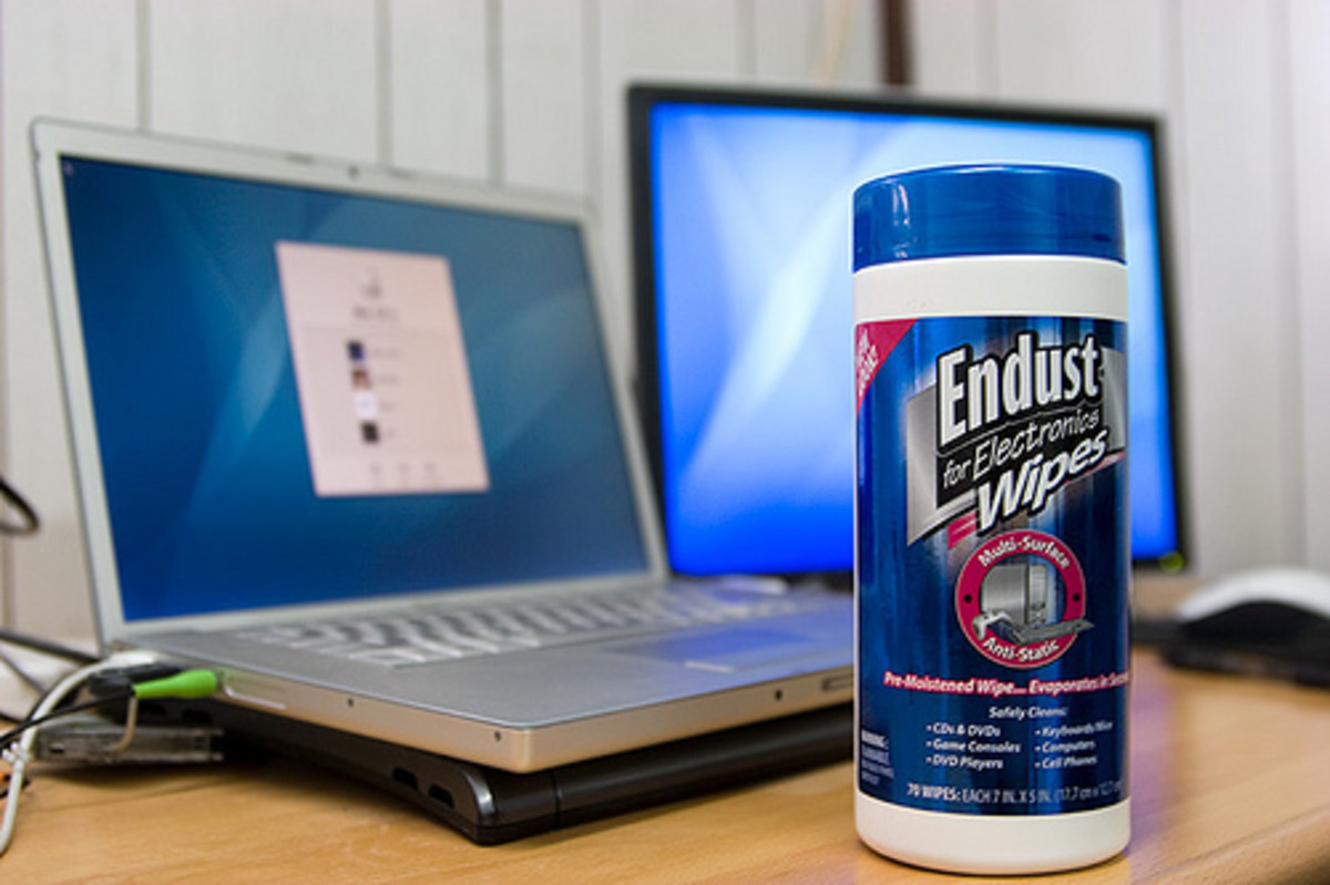 There are many great electronic cleaning products on the market - such as these Endust Electronics Wipes. CC BY-SA 2.0, via Flickr.