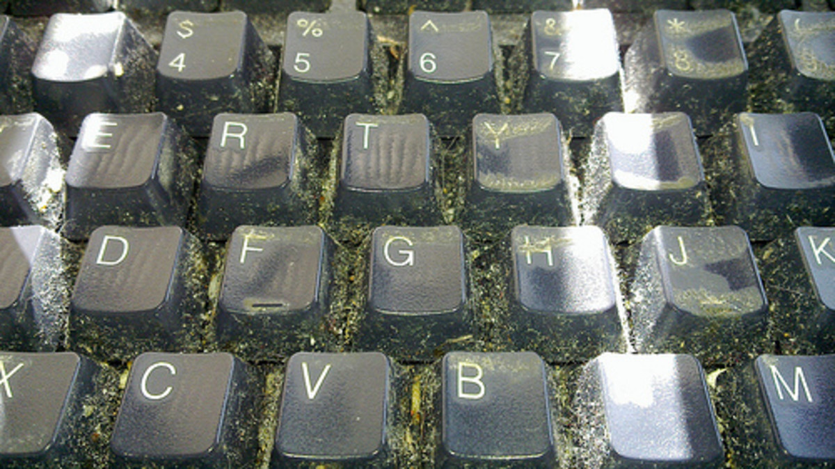 Dirt can easily hide between the keys on keyboards, so clean your keys carefully. CC BY-2.0, via Flickr.