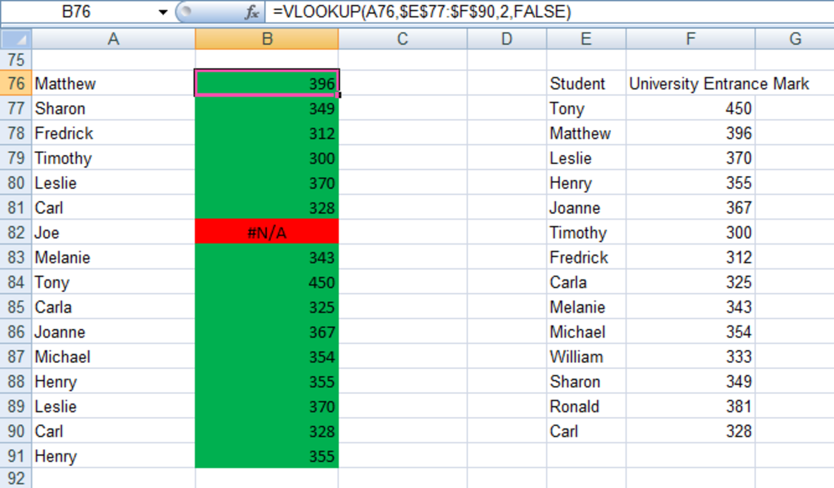 VLOOKUP results using the FALSE value to return exact matches in Excel 2007 and Excel 2010.