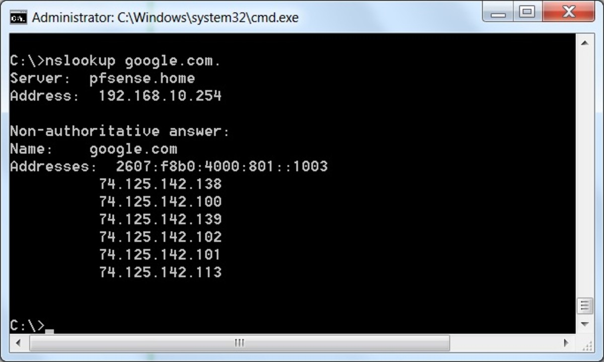 Successful test of the DNS forwarder using nslookup.