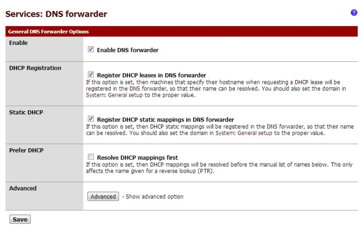 The DNS forwarder settings is found under the services menu in the web interface.