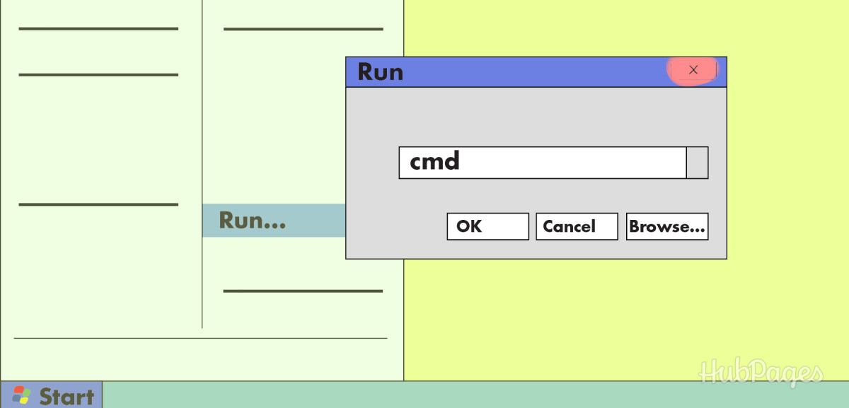 "First, type ""cmd"" into the Run box."