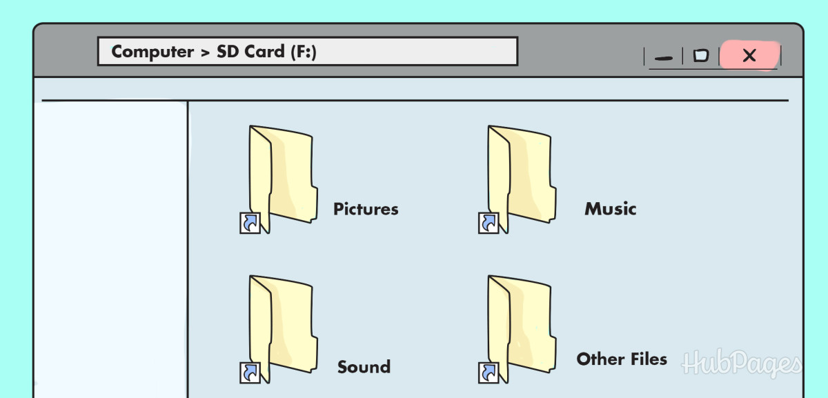 Shortcut folders can be identified by a small arrow in the bottom lefthand corner.