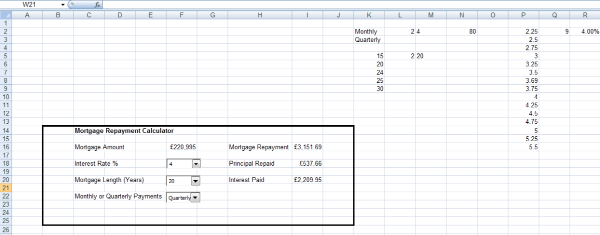 User panel created for my Mortgage Repayment Calculator to be used to illustrate replacing nested IF statements with CHOOSE in Excel 2007 and Excel 2010.