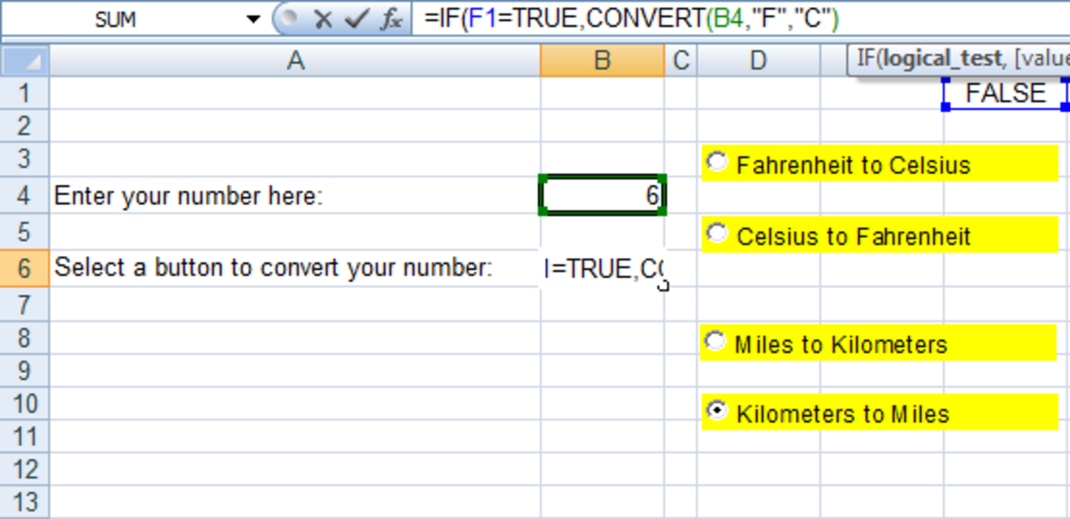 Example of the first part of nested IF functions performing a conversion in Excel 2007 and Excel 2010.