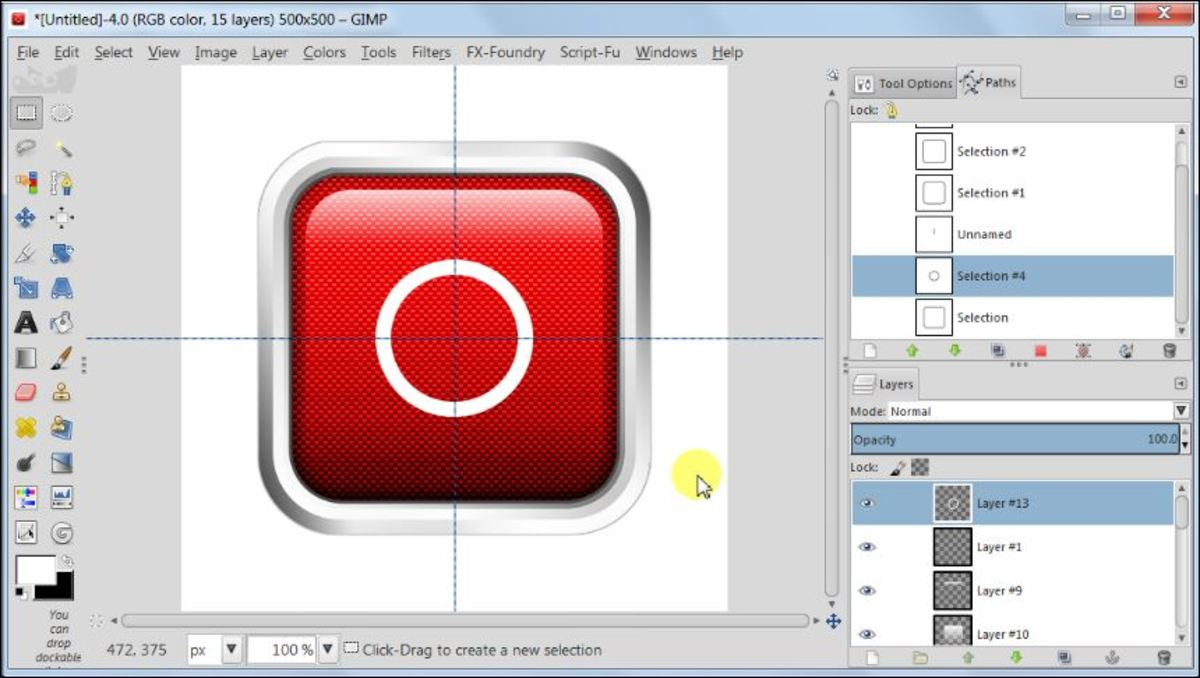 Fig. 22  Making a square glossy button with carbon fiber pattern in GIMP 2.8