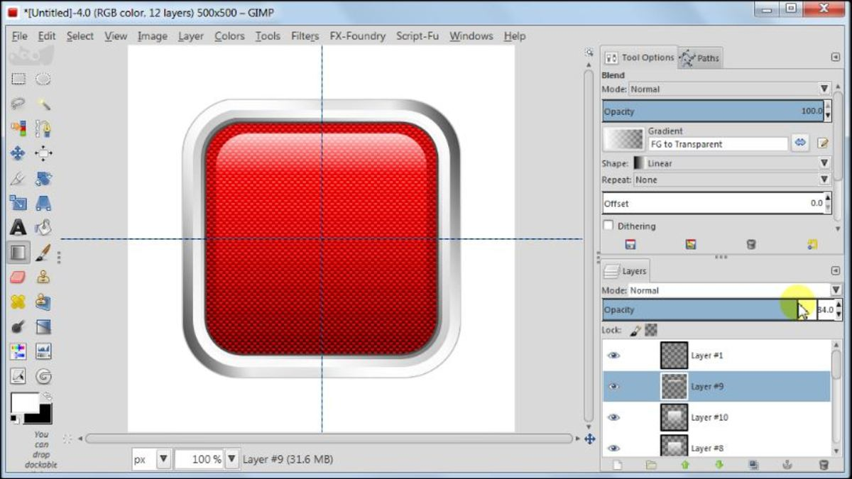 Fig. 19 Making a square glossy button with carbon fiber pattern in GIMP 2.8