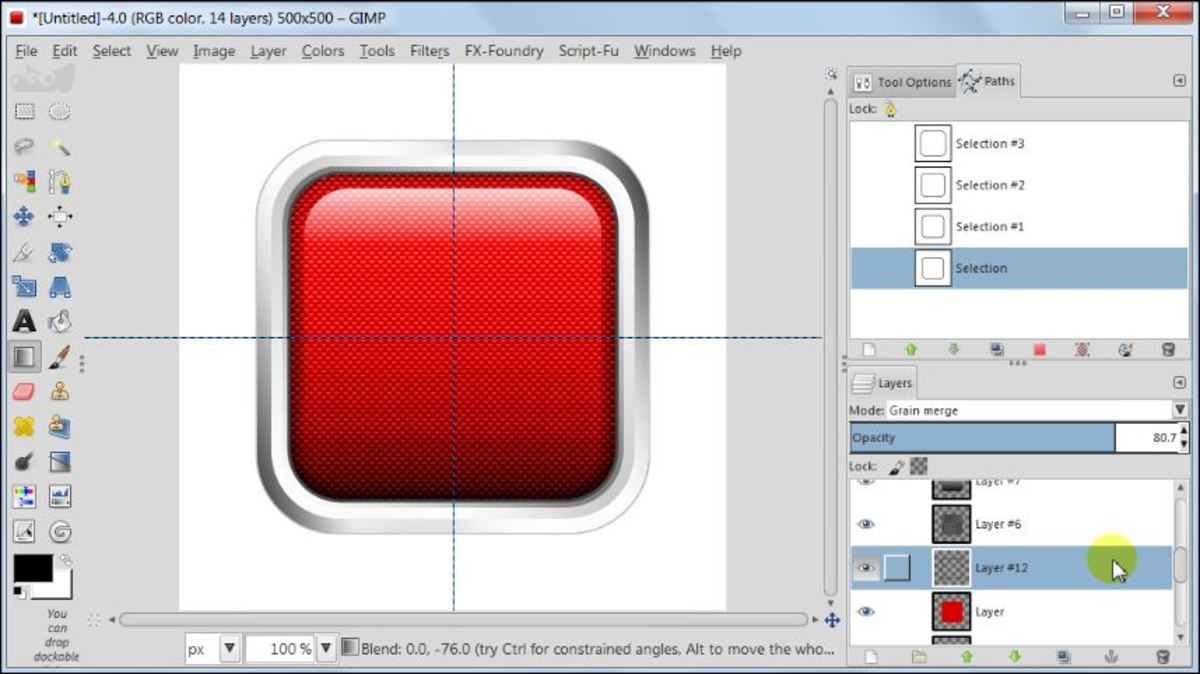 Fig. 21 Making a square glossy button with carbon fiber pattern in GIMP 2.8