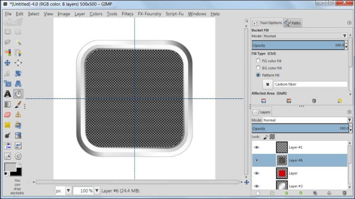 Fig. 16 Making a square glossy button with carbon fiber pattern in GIMP 2.8