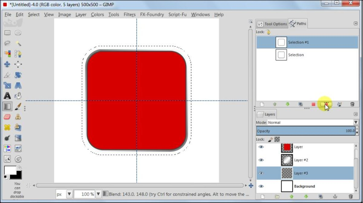 Fig. 10  Making a square glossy button with carbon fiber pattern in GIMP 2.8