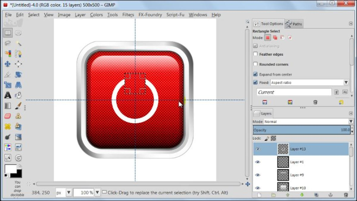 Fig. 23 Making a square glossy button with carbon fiber pattern in GIMP 2.8